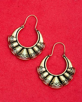Bharatnatyam Drape Pleated Hoop Earrings