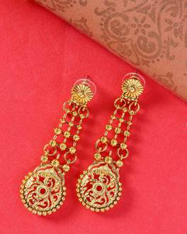 Great Maratha Dangler Earrings with Cut-Work Pattern