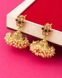 Pearl Bunches Zinc Alloy Jhumki Earrings