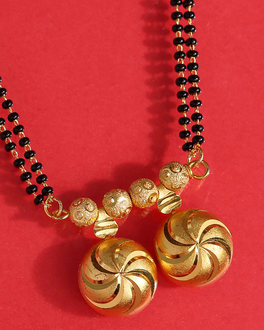 Vati Mangalsutra In Yellow Gold Plated With Double Beaded Chain For Women