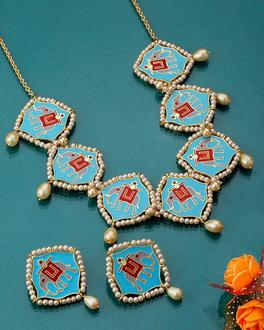 Blue n Red Chokta Patola Necklace