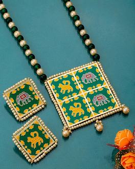 Green Patan Patola Necklace Set