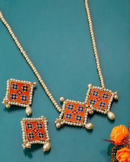 Orange n Blue Phulwadi Patola Necklace Set