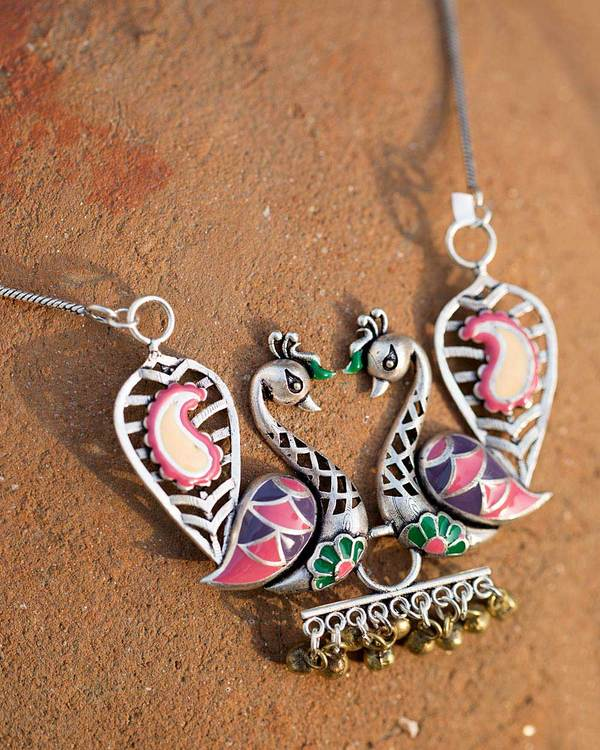 Women's Silver Plated Necklace With Peacock Motifs