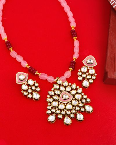 Kundan Elegance Pink Tones Necklace Set