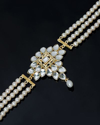 Rajputana Kundan Drop Choker with Pearl Strands