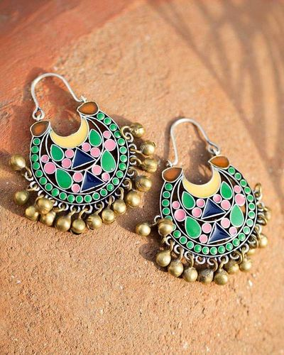 Artistic Tribal Earrings With Ghungroos & Colourful Details