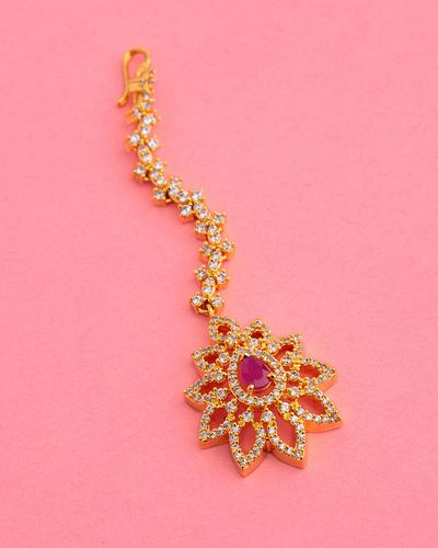 Ethnic CZ Gems Adorned Maang Tika