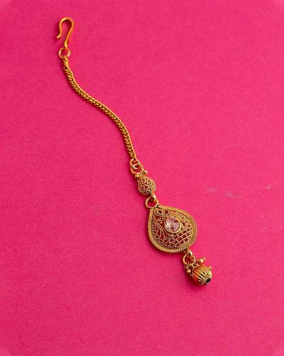 Lightly Embellished Brass Maang Tika