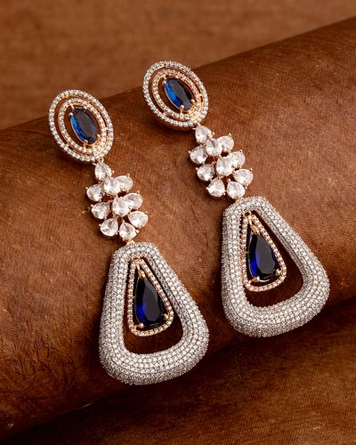 Blue and White CZ Gems Drop Earrings