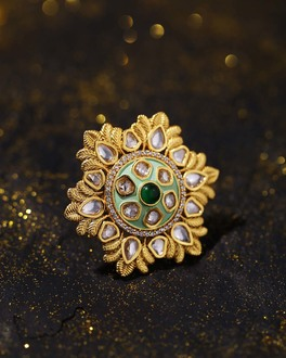 Mehar Mint and Gold Enamel Ring