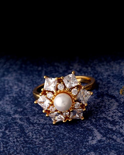 Voylla Fidget Faux Pearl and CZ Gems Cocktail Ring