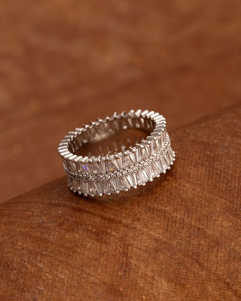 Women's Silver Plated Band Ring