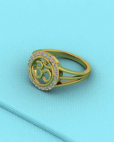 CZ Embellished Classic 'OM' Ring
