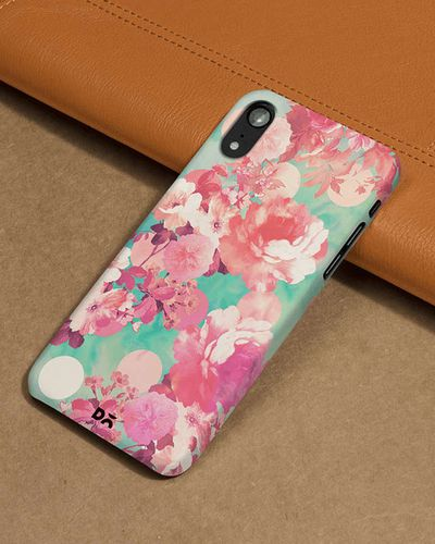DailyObjects Romantic Pink Retro Floral Pattern Teal Polka Dots Phone Back Case