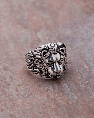 Oxidized Silver Lion Ring For Men From Dare by Voylla