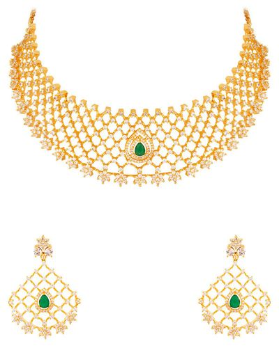 Lattice Design CZ Gems Necklace Set