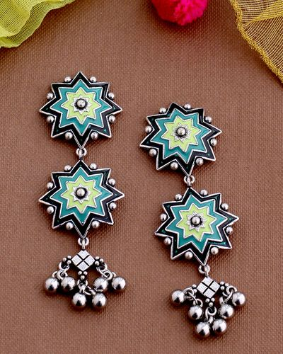 Lehariya Green Enameled Layered Earrings