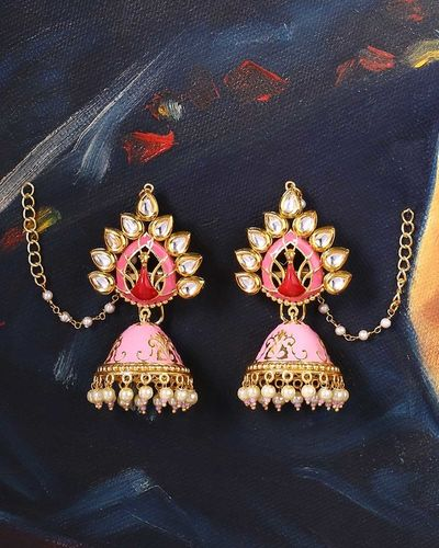 Manmayi Peacock Motif Jhumka Earrings