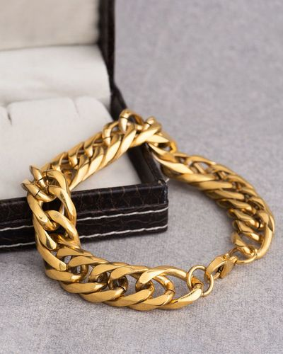 Solid Gold Plated Men's Curb Link Bracelet