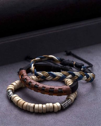 Cool Stacked Combo Wrap Bracelets for Men