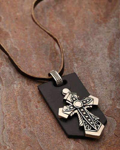 Cross Designer Pendant With Brown Leather Chain