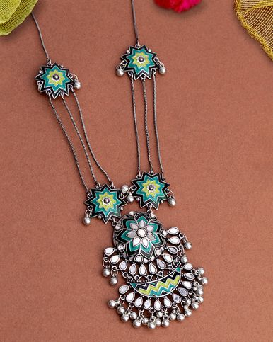 Lehariya Enameled Statement Necklace