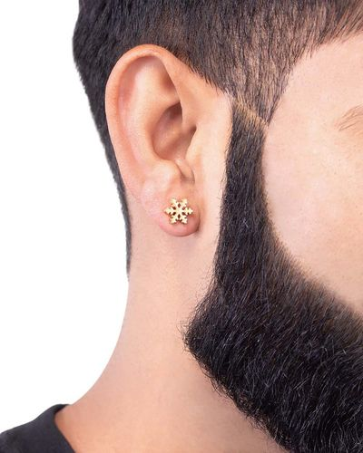 Royal Stud Snowflake Gold Plated Earring