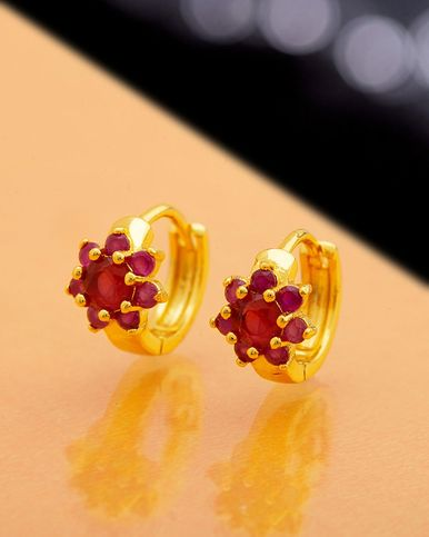 Ruby Floral Micro Hoop Earrings