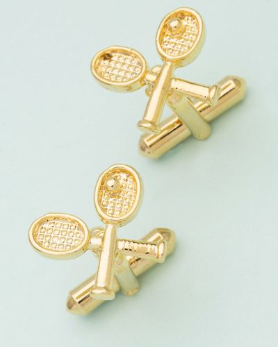 Tennis Bat Designer Gold Plated Cufflinks