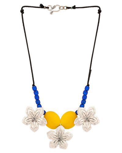 Three Silver Flower Pendants With Yellow Stones Necklace