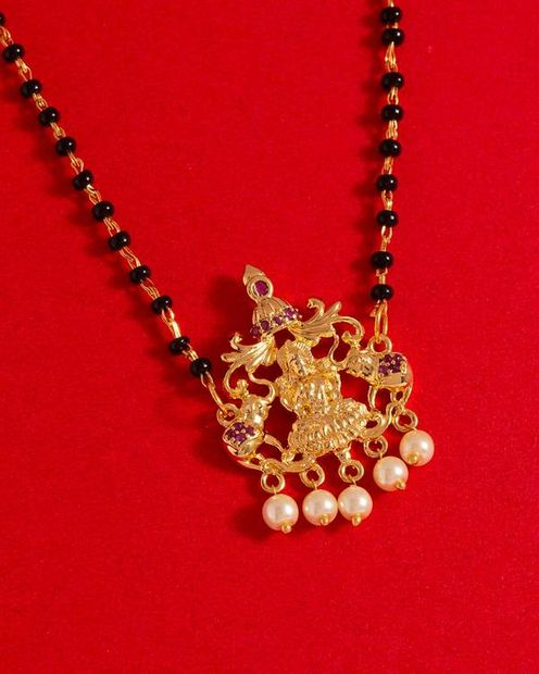 Temple Goddess Faux Pearls Mangalsutra