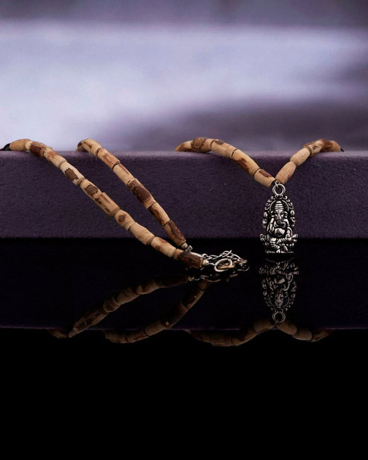 Lord Ganesh Pendent With Tulsi Beaded Chain