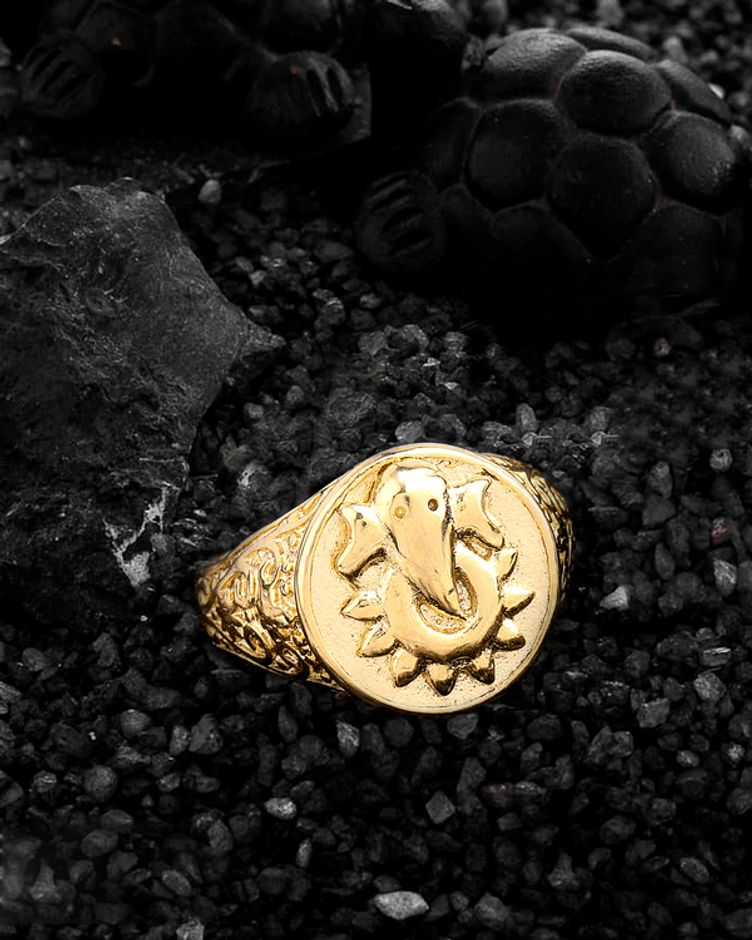 Statement Rings Men's Gold Plated Ring