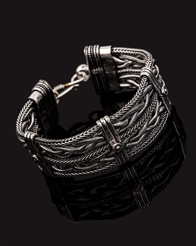 Oxidized Silver Plated Knotted Bracelet
