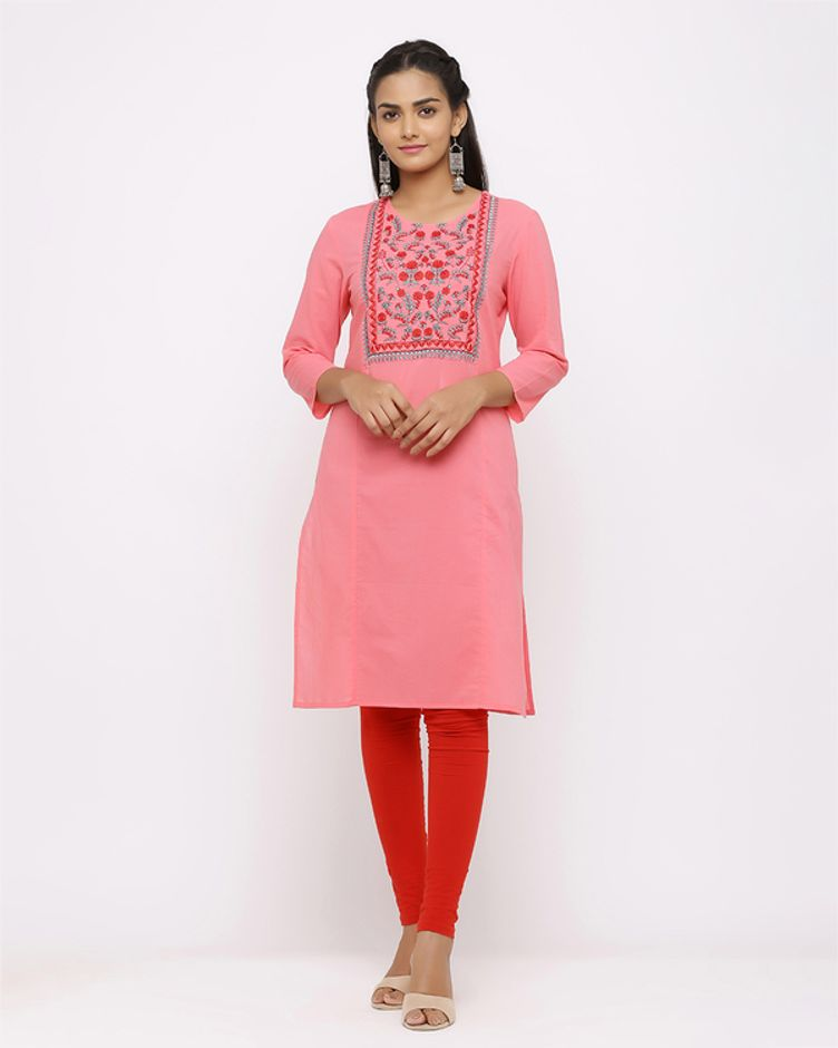 Women's Pink Floral Embroidery Kurta