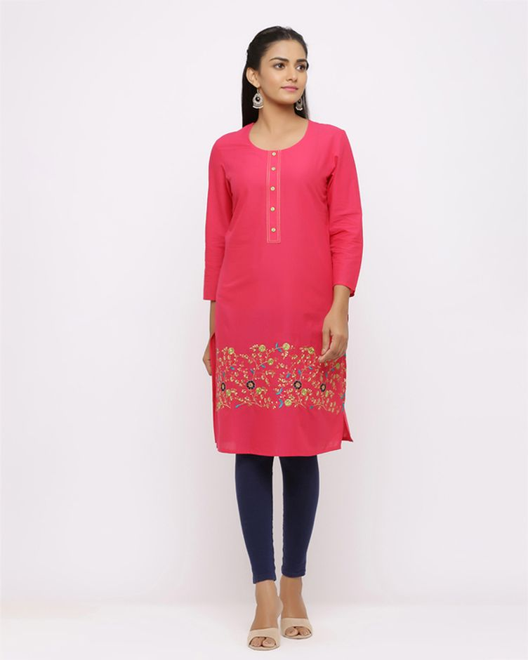 Floral Embroidery Straight Fit Kurta