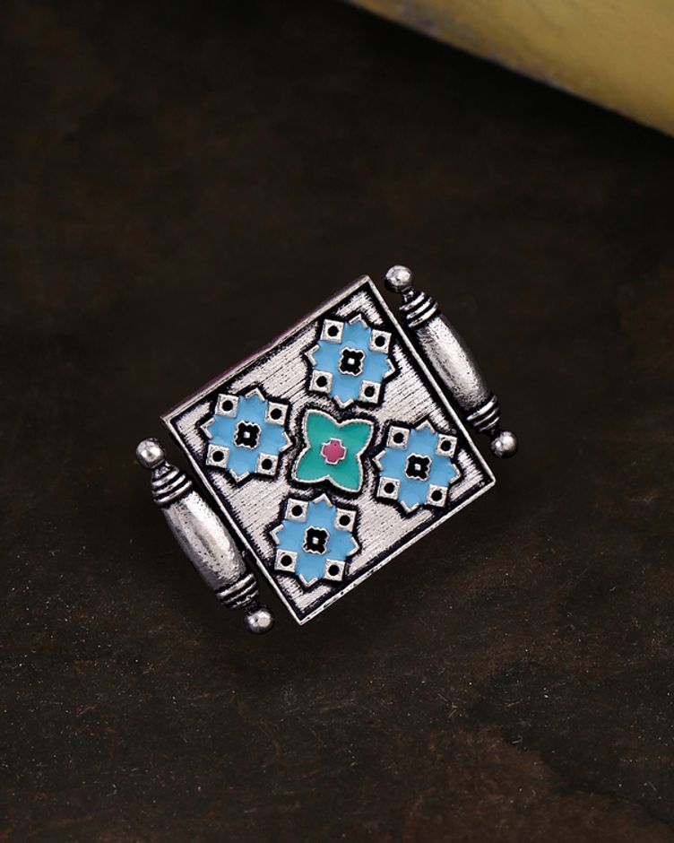 Floral and Geometric Motifs Statement Ring