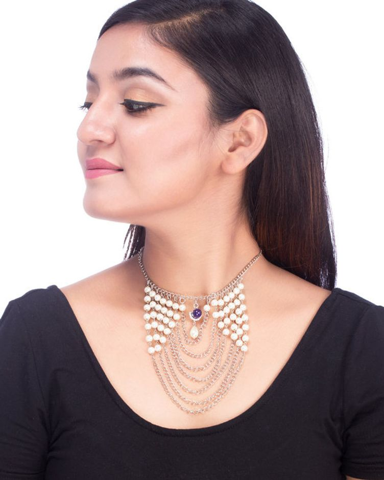 Silver Plated Cluster Pearl Necklace from Pearl Galleria