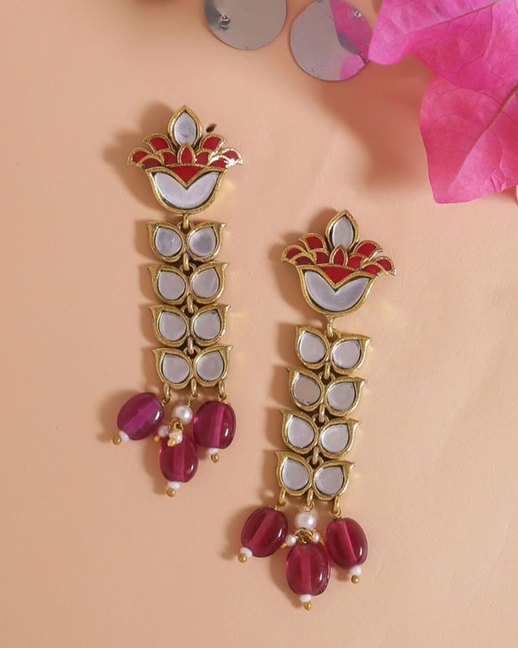 Thikri Gold Plated Petals Motifs Long Earrings